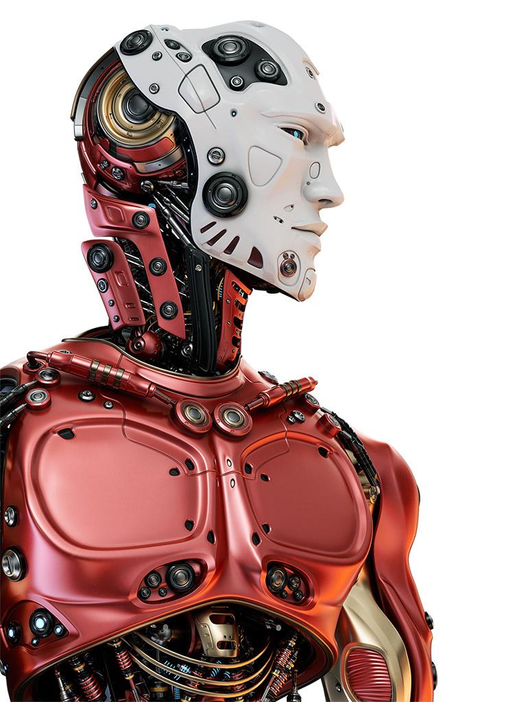 Stylish red cyborg with white face mask • Buyourobot