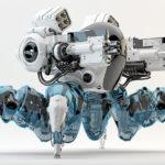 Armed Robotic spider 3d render