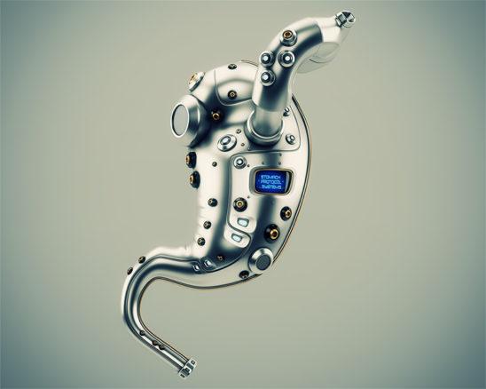Artificial robotic internal organ - metal stomach with sensor