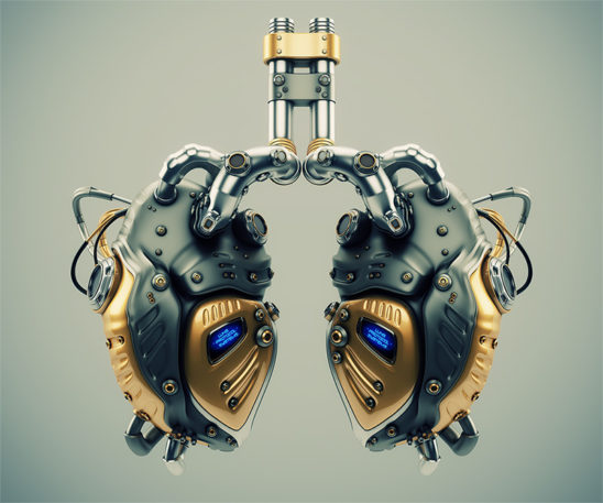 Artificial robotic internal organ - steel lungs with sensors