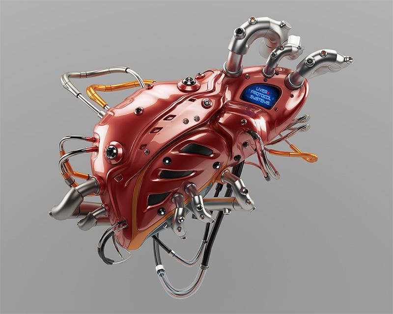 Liver Protocol Systems.Artificial robotic internal organ - steel liver with sensor.