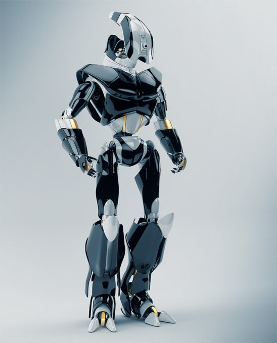 3d render of modern robotic soldier