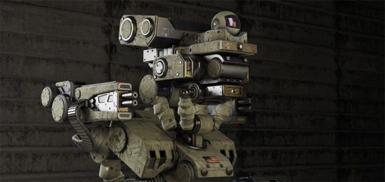 robot in military cloth with camera