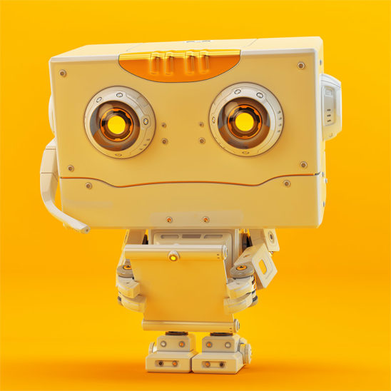 Retro styled small robotic toy with square head inspecting