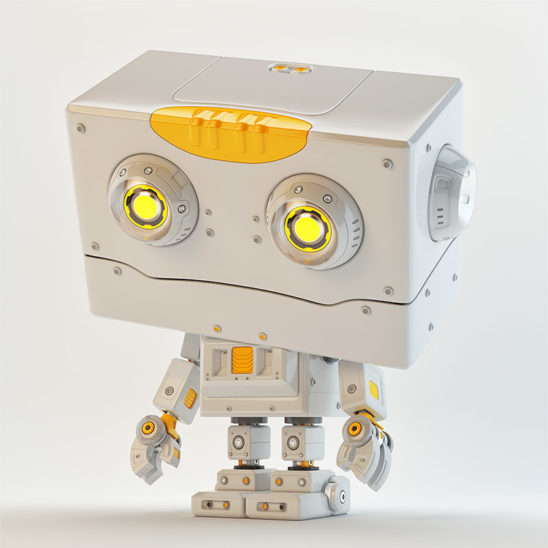 Robot toy with stylish golden colored hair element