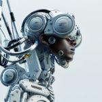stylish black man in robotic medic suit