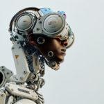 stylish black man in robotic suit