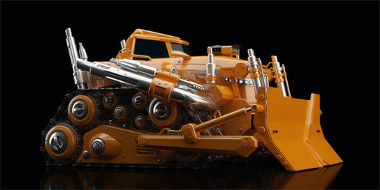 huge modern bulldozer on black