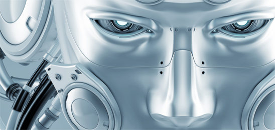 futuristic robot man face mask