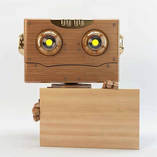toy robot holds wooden board