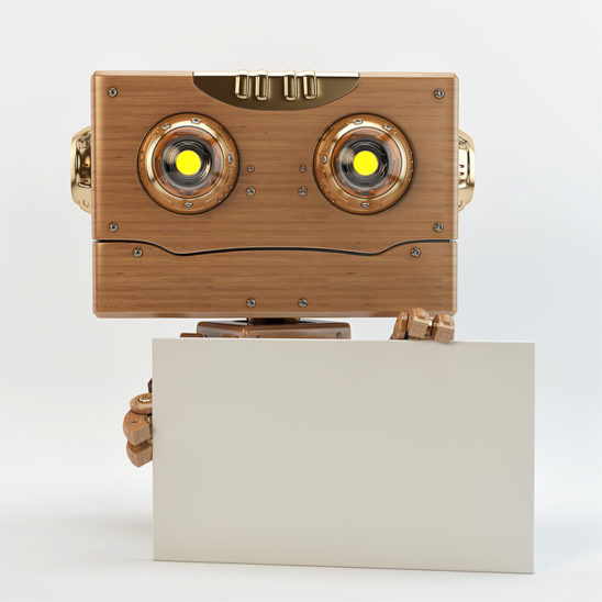 smiling wooden robot holds ad