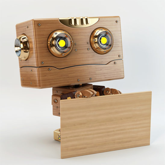 robot with board