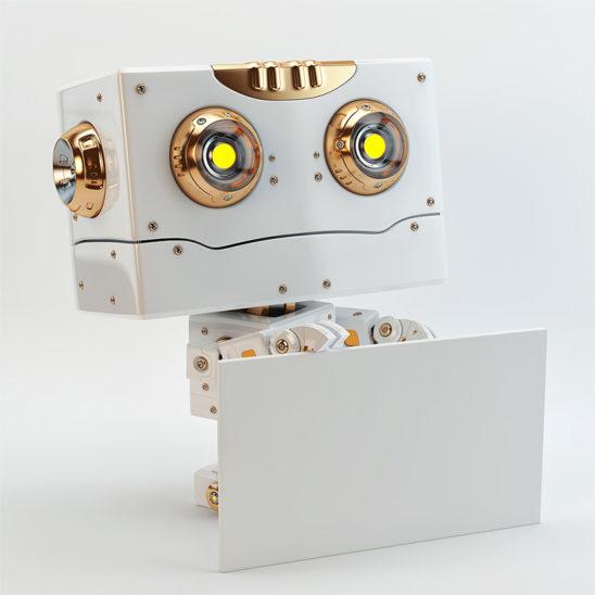 white lovely robot toy