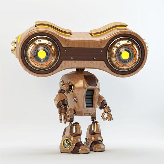 robot with binoculars head