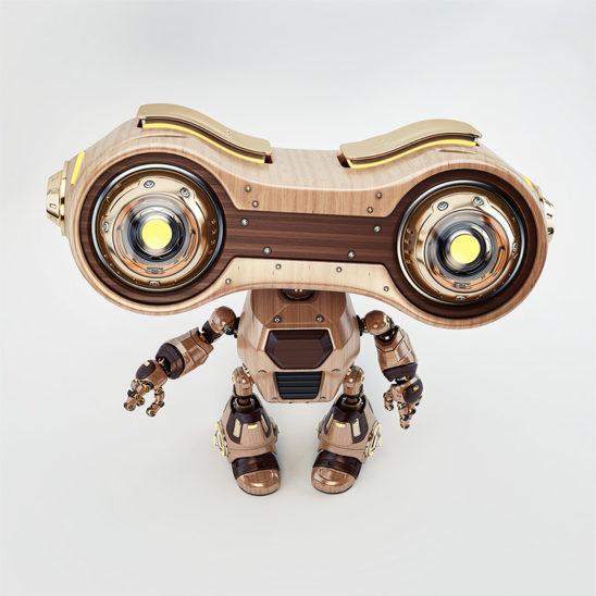 robot upper view wooden