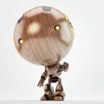 wooden robot greeting