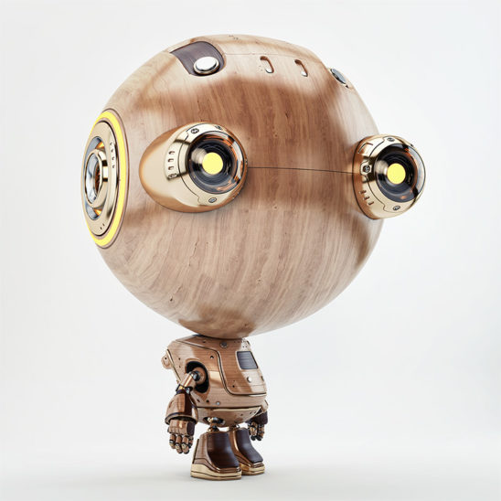 wooden retro robot with big eyes
