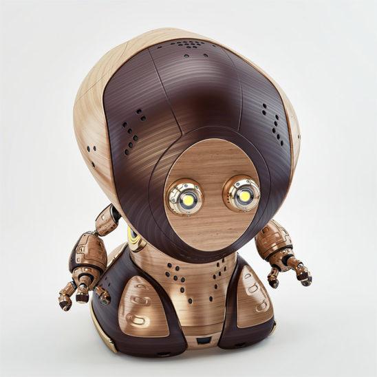 retro wooden pirate robot