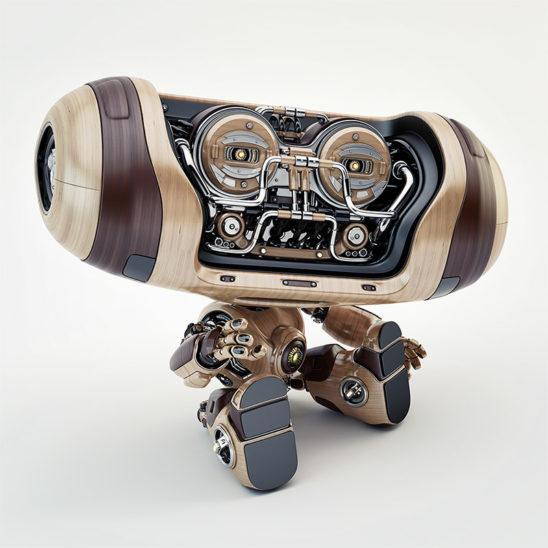 wooden robot sitting