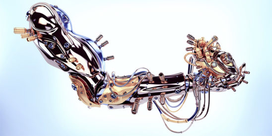 Metal artificial arm with heart