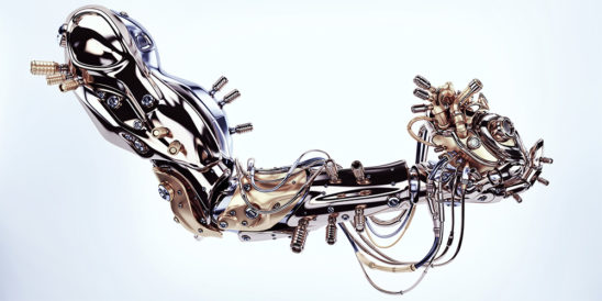 Stylish steel robot arm holds artificial futuristic heart