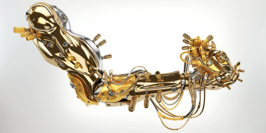 Gold artificial arm with heart