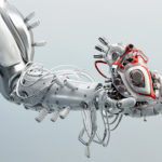 Futuristic arm holding wired heart