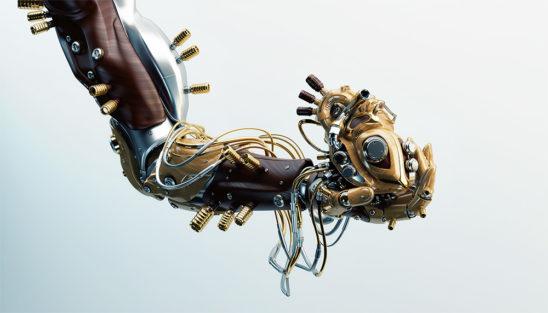 robot arm hold artificial hear wooden