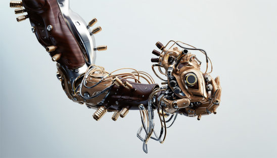 Wooden robotic arm holding heart