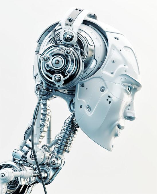 robot wearing headphones