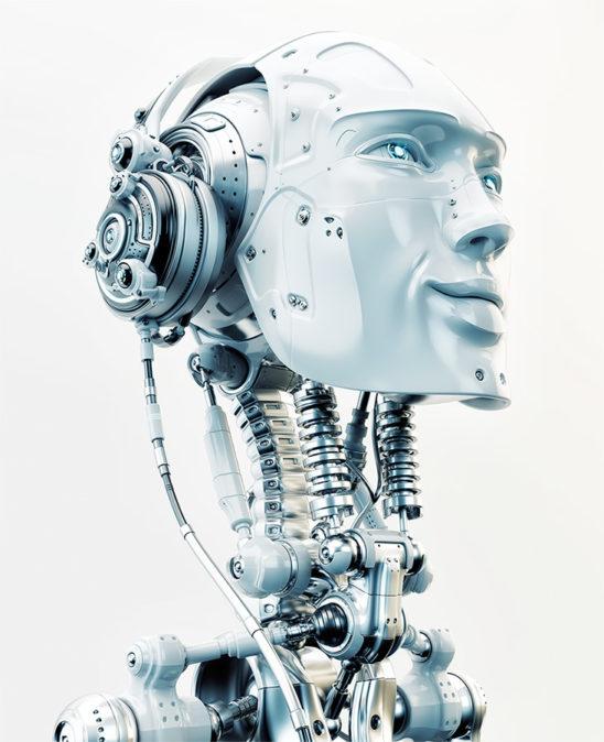 Robot in headphones