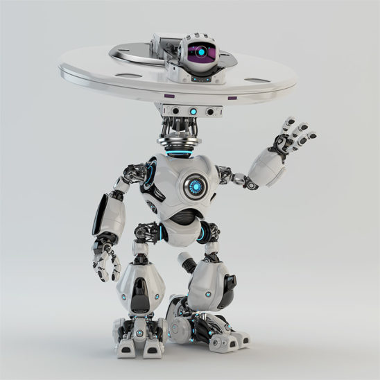plate bot waving with hand hi greeting