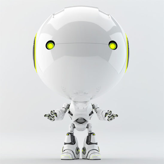 robotic toddler green eyes