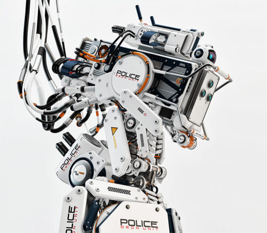 robot drone police man