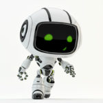 robot toy green eyes walking step smiling