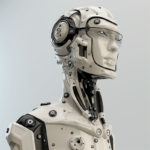 cyborg in helmet and google glasses