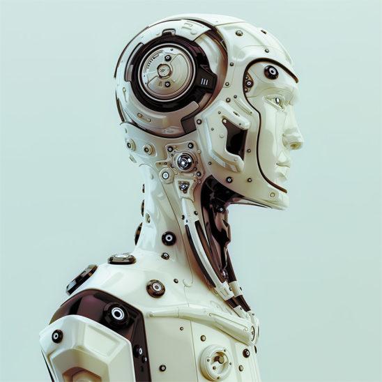 futuristic robot man head