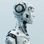 robot in helmet side cyborg