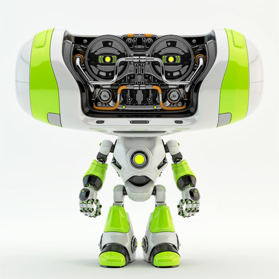 green bright cheburashka robot