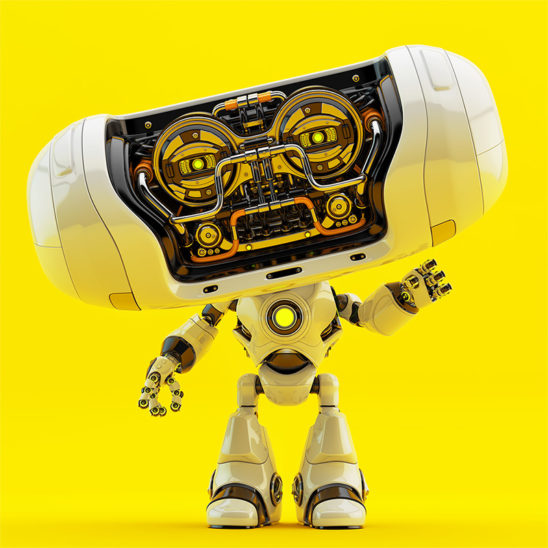 robotic toy cheburashka on bright yellow background