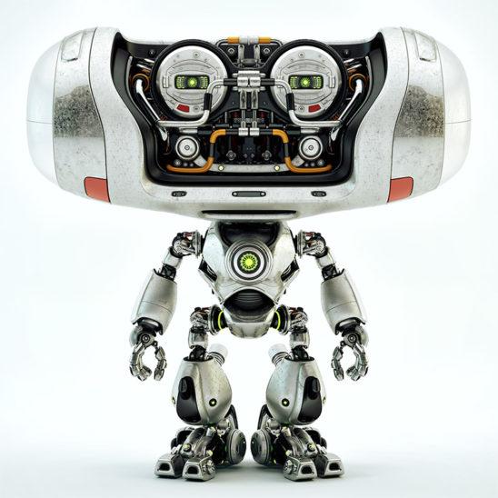 metal cheburashka robot front