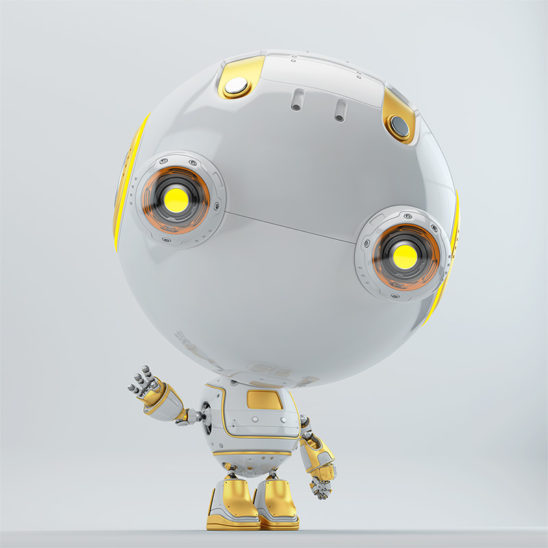 cute robot toy toddler with bright yellow elements greeting