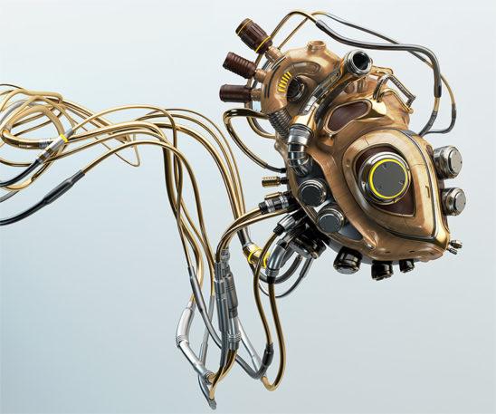 robot heart wooden retro