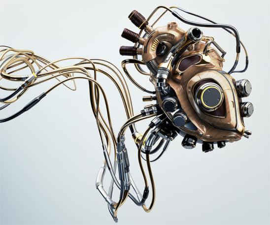 wooden robotic heart wired