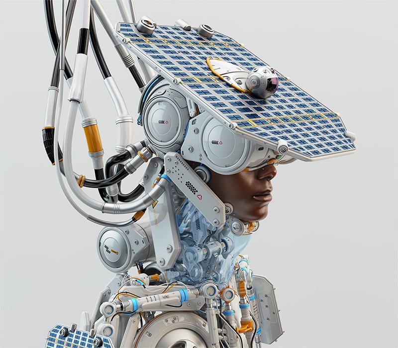 afrosamurai robot with solar panel on head