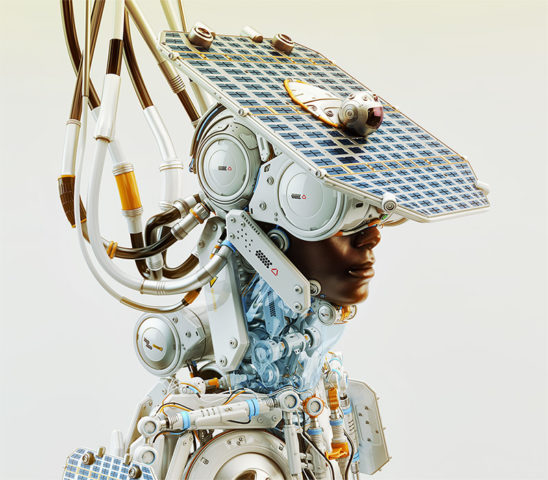 afrosamurai robot with hat as solar panel