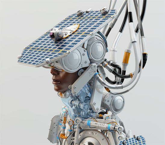 afro samurai robot with solar panel and casmera as hat