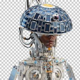 Afrosamurai robot with solar panel round from and camera on head