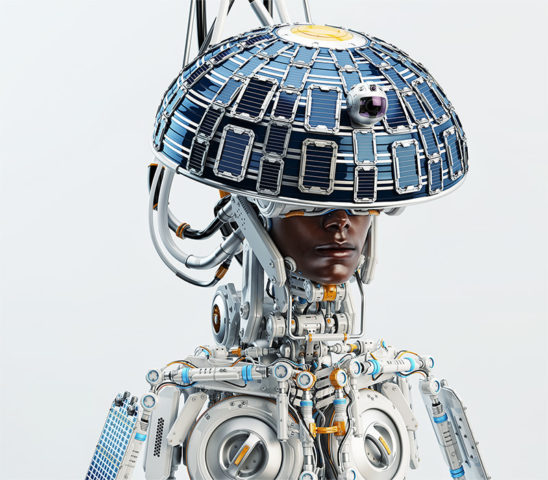 Afrosamurai robot with round, circle solar panel