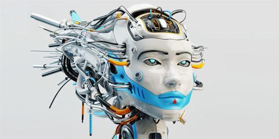 robot geisha woman with dreadlocks